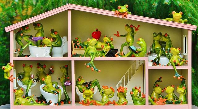 žáby v domečku